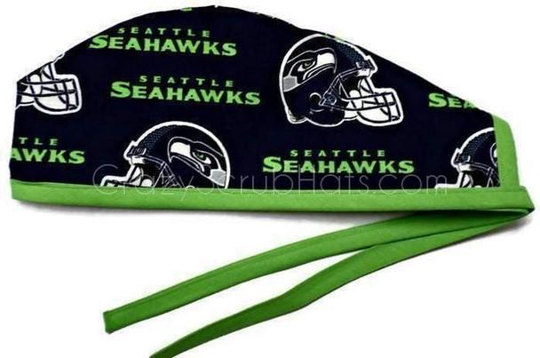 Men's Seattle Seahawks Navy Unlined Surgical Scrub Hat, Optional Sweatband, Handmade