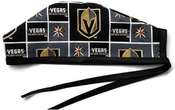 Men's Unlined Surgical Scrub Hat Cap Handmade with  Vegas Golden Knights fabric