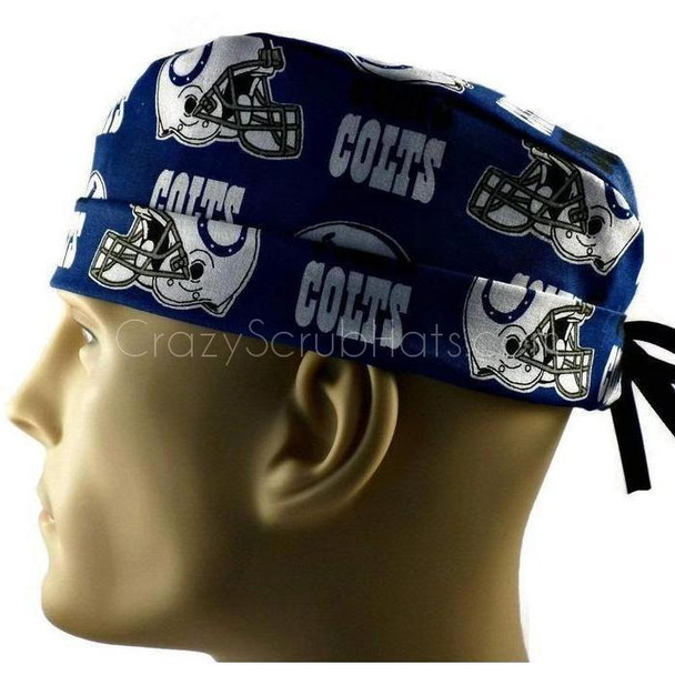 Men's Adjustable Fold-Up Cuffed or Un-Cuffed Surgical Scrub Hat Cap handmade with Officially Licensed Indianapolis Colts Allover fabric