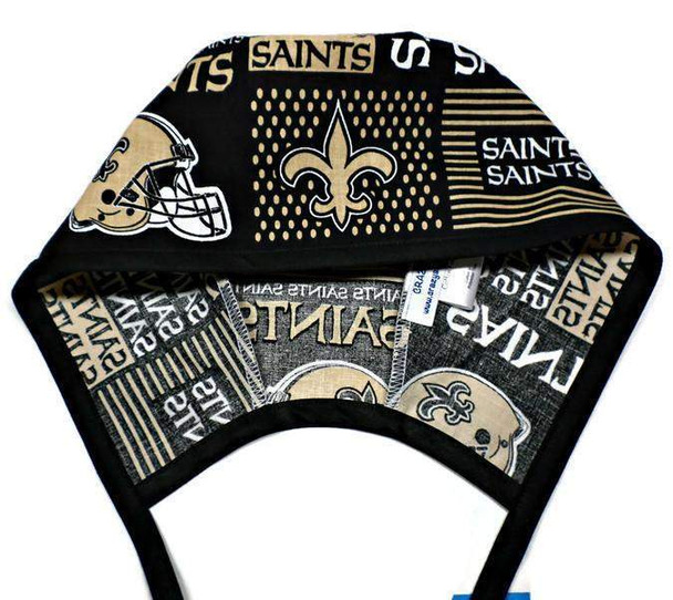 Men's Optional Sweatband Unlined Surgical Scrub Hat Handmade with  New Orleans Saints Squares fabric