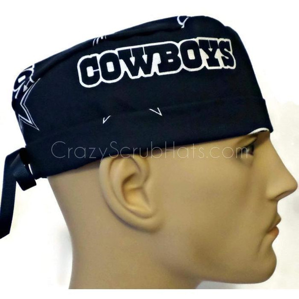 Men's Adjustable Fold-Up Cuffed or Un-Cuffed Surgical Scrub Hat Cap handmade with Officially Licensed Dallas Cowboys Navy fabric