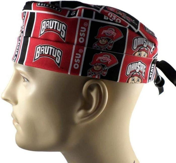 Men's Adjustable Fold-Up Cuffed or Un-Cuffed Surgical Scrub Hat Cap Handmade with  Ohio State Buckeyes fabric
