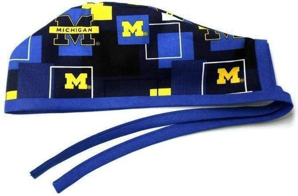 Men's Unlined Surgical Scrub Hat Cap handmade with Officially Licensed Michigan Wolverines New Block fabric