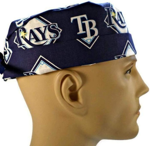 Men's Adjustable Fold-Up Cuffed or Un-Cuffed Surgical Scrub Hat Cap Handmade with  Tampa Bay Rays fabric