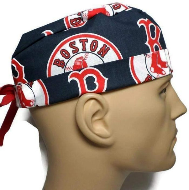 Men's Adjustable Fold-Up Cuffed or Un-Cuffed Surgical Scrub Hat Cap handmade with Officially Licensed Boston Red Sox fabric