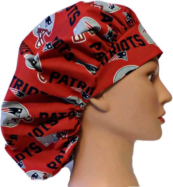Women's Adjustable Bouffant Surgical Scrub Hat Cap handmade with Officially Licensed New England Patriots Red fabric w/ elastic and cord-lock