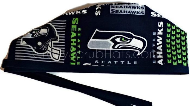 Men's Unlined Surgical Scrub Hat Cap Handmade with  Seattle Seahawks Squares fabric