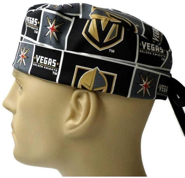 Men's Adjustable Fold-Up Cuffed or Un-Cuffed Surgical Scrub Hat Cap handmade with Officially Licensed Vegas Golden Knights fabric