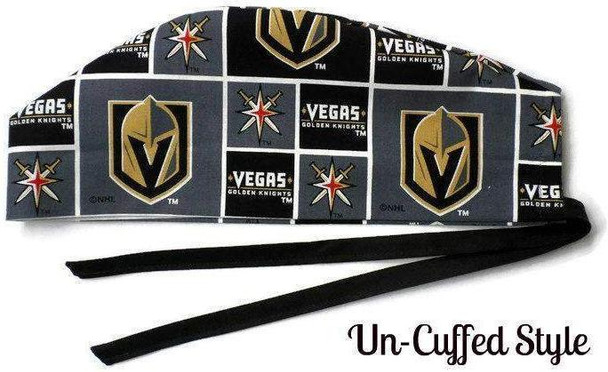 Men's Semi-Lined Fold-Up Cuffed (shown) or No Cuff Surgical Scrub Hat Handmade with  Vegas Golden Knights fabric