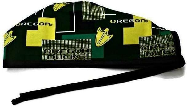 Men's Unlined Surgical Scrub Hat Cap Handmade with  Oregon Ducks New Block fabric