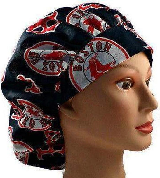 Women's Adjustable Bouffant Surgical Scrub Hat Cap handmade with Officially Licensed Boston Red Sox fabric w/ elastic and cord-lock