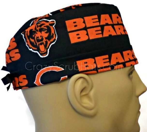 Men's Chicago Bears Navy Surgical Scrub Hat, Semi-Lined Fold-Up Cuffed (shown) or No Cuff, Handmade