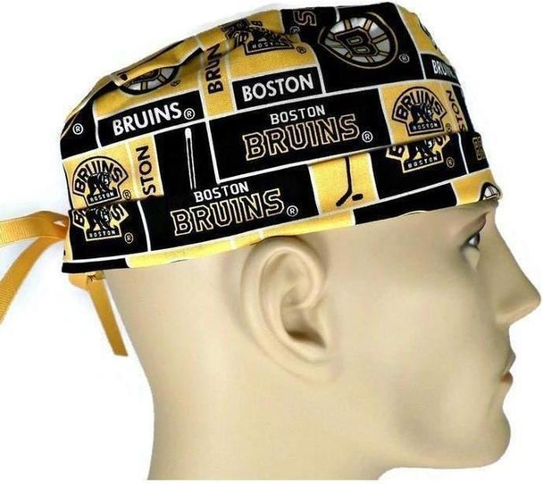 Men's Adjustable Fold-Up Cuffed or Un-Cuffed Surgical Scrub Hat Cap Handmade with  Boston Bruins Squares fabric