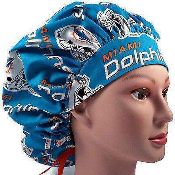 Women's Adjustable Bouffant, Pixie, or Ponytail Surgical Scrub Hat Cap Handmade with  Miami Dolphins fabric
