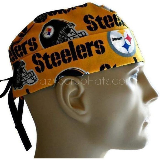 Men's Semi-Lined Fold-Up Cuffed (shown) or No Cuff Surgical Scrub Hat Handmade with  Pittsburgh Steelers Gold fabric
