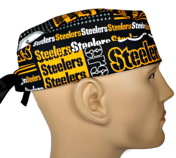 Men's Adjustable Fold-Up Cuffed or Un-Cuffed Surgical Scrub Hat Cap handmade with Officially Licensed Pittsburgh Steelers Squares fabric