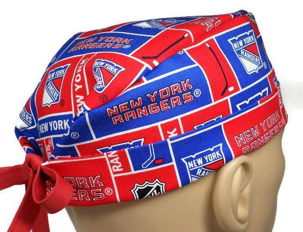 Men's Semi-Lined Fold-Up Cuffed (shown) or No Cuff Surgical Scrub Hat Handmade with  New York Rangers fabric