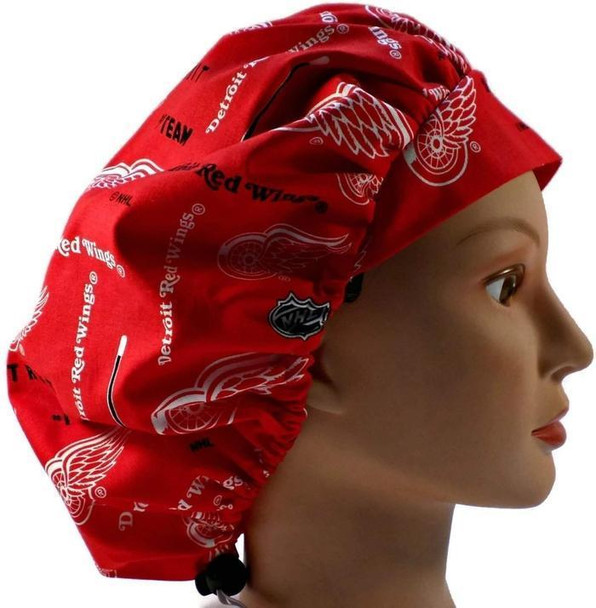 Women's Adjustable Bouffant, Pixie, or Ponytail Surgical Scrub Hat Cap Handmade with  Detroit Redwiings Red fabric