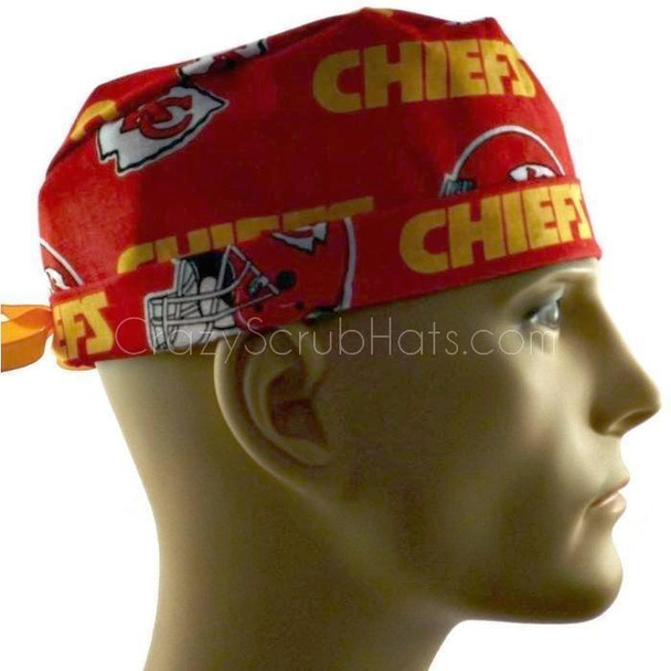 Men's Adjustable Fold-Up Cuffed or Un-Cuffed Surgical Scrub Hat Cap handmade with Officially Licensed Kansas City Chiefs Print fabric