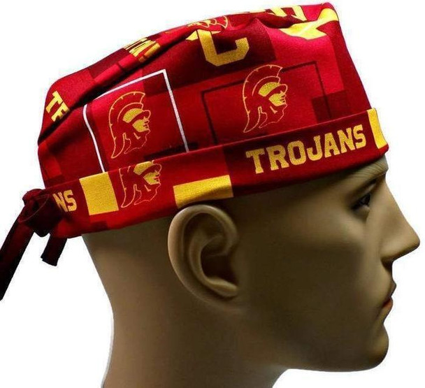 Men's Adjustable Fold-Up Cuffed or Un-Cuffed Surgical Scrub Hat Cap handmade with Officially Licensed USC Trojans New Block fabric