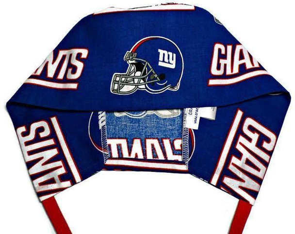 Men's Semi-Lined Fold-Up Cuffed (shown) or No Cuff Surgical Scrub Hat Handmade with  New York Giants fabric