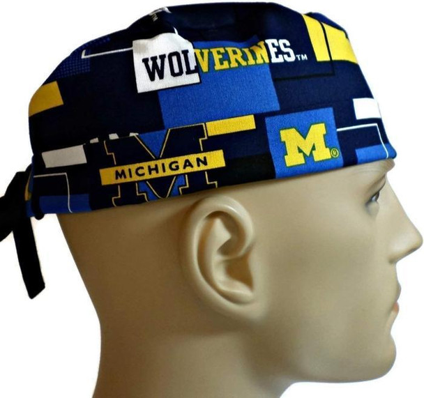 Men's Adjustable Fold-Up Cuffed or Un-Cuffed Surgical Scrub Hat Cap handmade with Officially Licensed Michigan Wolverines New Block fabric