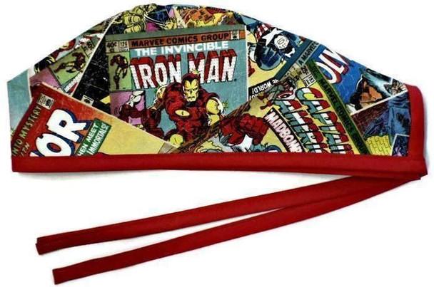Men's Marvel Superhero Retro  Unlined Surgical Scrub Hat, Optional Sweatband, Handmade