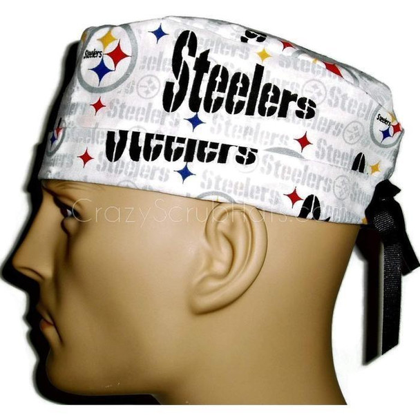 Men's Adjustable Fold-Up Cuffed or Un-Cuffed Surgical Scrub Hat Cap handmade with Officially Licensed Pittsburgh Steelers White fabric