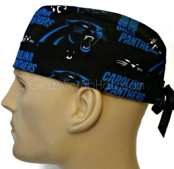 Men's Carolina Panthers Surgical Scrub Hat, Semi-Lined Fold-Up Cuffed (shown) or No Cuff, Handmade