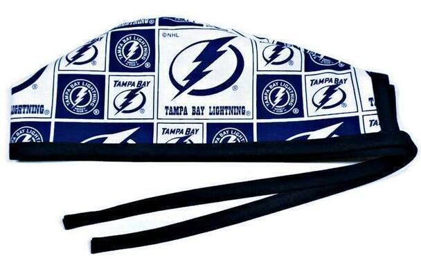 Men's Tampa Bay Lightning Squares  Unlined Surgical Scrub Hat, Optional Sweatband, Handmade