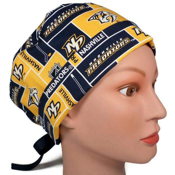 Women's Adjustable Fold-Up Pixie Surgical Scrub Hat Cap handmade with Officially Licensed Nashville Predators fabric