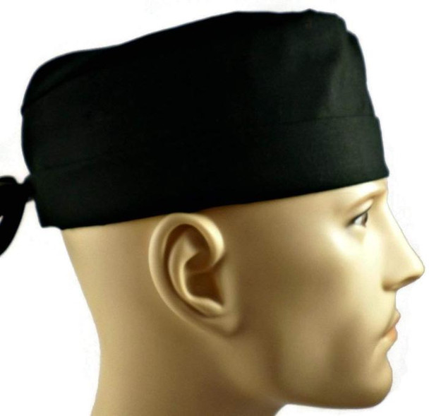Men's Black Solid Surgical Scrub Hat, Semi-Lined Fold-Up Cuffed (shown) or No Cuff, Handmade