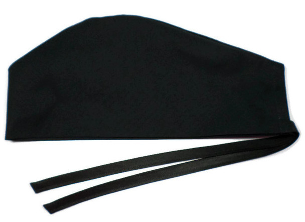Men's Semi-Lined Fold-Up Cuffed (shown) or No Cuff Surgical Scrub Hat Handmade with  Black Solid fabric