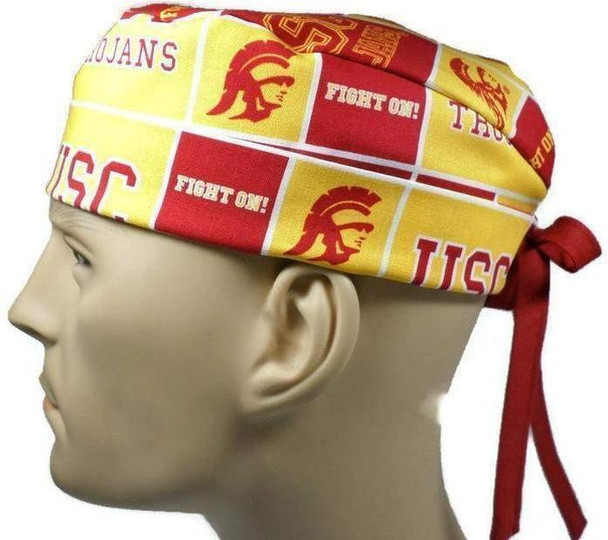 Men's Adjustable Fold-Up Cuffed or Un-Cuffed Surgical Scrub Hat Cap handmade with Officially Licensed USC Trojans Squares fabric