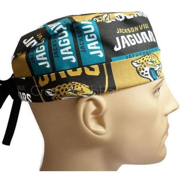 Men's Jacksonville Jaguars Squares Surgical Scrub Hat, Semi-Lined Fold-Up Cuffed (shown) or No Cuff, Handmade
