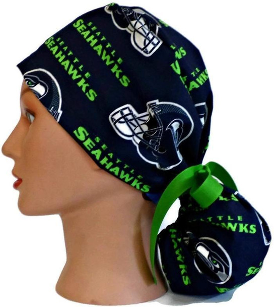 Women's Adjustable Ponytail Surgical Scrub Hat Cap handmade with Officially Licensed Seattle Seahawks Navy fabric