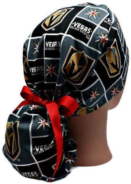 Women's Adjustable Ponytail Surgical Scrub Hat Cap handmade with Officially Licensed Vegas Golden Knights fabric