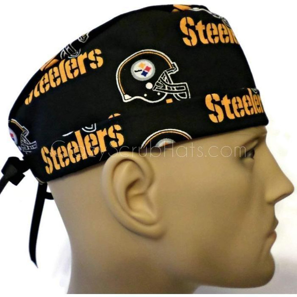Men's Adjustable Fold-Up Cuffed or Un-Cuffed Surgical Scrub Hat Cap handmade with Officially Licensed Pittsburgh Steelers Black fabric