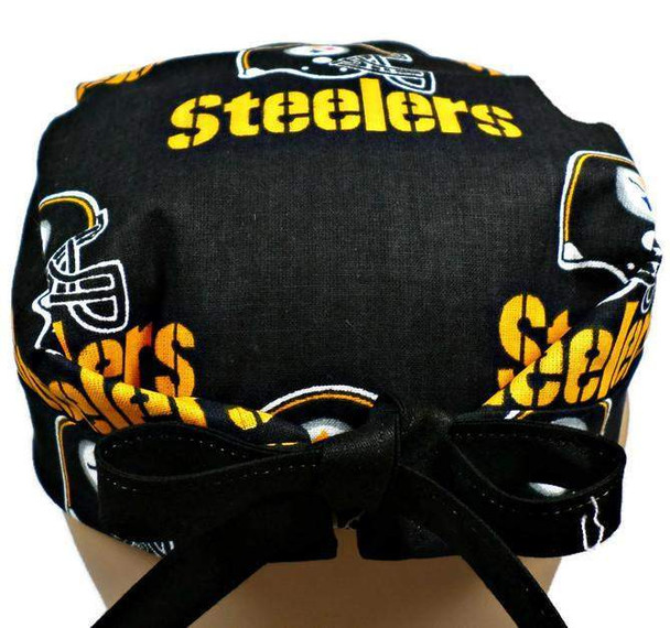 Men's Semi-Lined Fold-Up Cuffed (shown) or No Cuff Surgical Scrub Hat Handmade with  Pittsburgh Steelers Black fabric