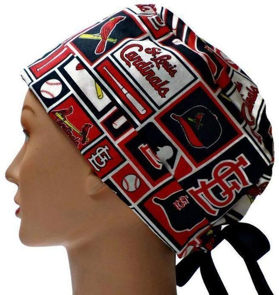 Women's St. Louis Cardinals Squares Pixie Surgical Scrub Hat, Fold Up Brim, Adjustable, Handmade