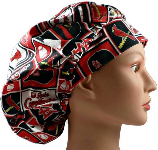 Women's Adjustable Bouffant, Pixie, or Ponytail Surgical Scrub Hat Cap handmade with Officially Licensed St. Louis Cardinals Squares fabric
