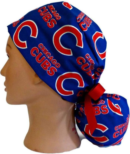 Women's Adjustable Ponytail Surgical Scrub Hat Cap handmade with Officially Licensed Chicago CUBS fabric