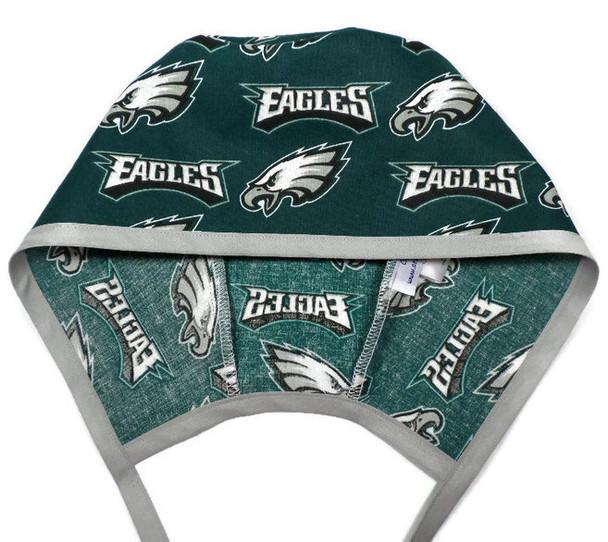 Men's Optional Sweatband Unlined Surgical Scrub Hat Handmade with  Philadelphia Eagles fabric
