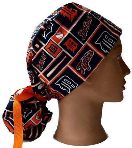 Women's Adjustable Ponytail Surgical Scrub Hat Cap Handmade with  Detroit Tigers Squares fabric