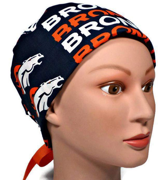 Women's Adjustable Fold-Up Pixie  Surgical Scrub Hat Cap handmade with Officially Licensed Broncos Navy fabric