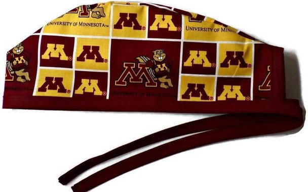 Men's Unlined Surgical Scrub Hat Cap handmade with Officially Licensed Minnesota Gophers fabric