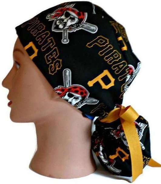 Women's Adjustable Ponytail Surgical Scrub Hat Cap Handmade with  Pittsburgh Pirates fabric