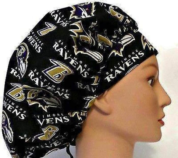 Women's Adjustable Bouffant, Pixie, or Ponytail Scrub Hat Cap Handmade with  Baltimore Ravens Black fabric