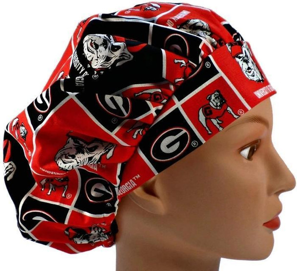 Women's Adjustable Bouffant, Pixie, or Ponytail Surgical Scrub Hat Cap Handmade with  Georgia Bulldogs Squares fabric
