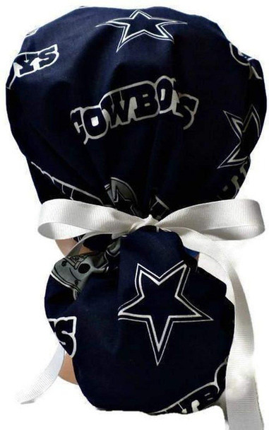 Women's Adjustable Ponytail Surgical Scrub Hat Cap Handmade with  Dallas Cowboys Navy fabric